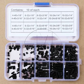 200Pcs 4-40 to 10-32 Set Allen Head Hex Socket Screws Assortment Kit