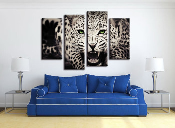 4 pieces / set Piece Large Modern Printed Cheetah african Oil Painting Picture Decorative paintings Canvas Wall Art For Living