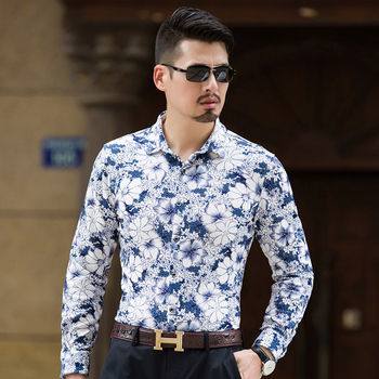 Floral Print Men Shirt Long Sleeve 2018 Brand Men's Dress Shirt Casual Plus 7xl Camisa Masculina Male Fashion Slim Shirt Cotton