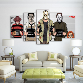JIE DO ART Prints Wall Art Pictures 5 Pieces Comics Freddy Krueger Paintings Horror Movie Poster Living Room Decor