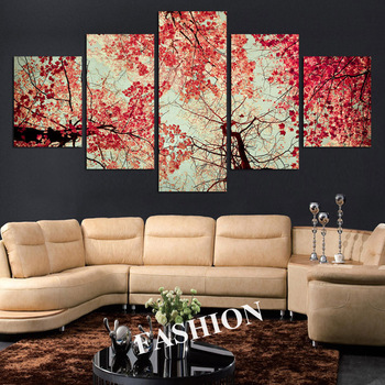 (No Frame) Red Leaves Trees Canvas Painting 5 Pcs Wall Art Picture Home Decoration Living Room Decoration Canvas Print Painting