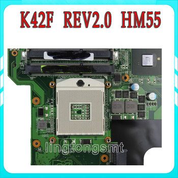 Original K42F Rev 2.0 GMA HD USB2.0 HM55 PGA989 DDR3 VRAM Main Board For Asus K42F Notebook Motherboard P42F fully tested