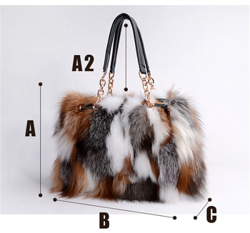 Real Red fox fur handbags handbag bag silver fox fur bag pathwork real fur handbag