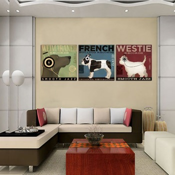 3 pcs Print poster Canvas Art Pet Dogs Prints Animated Wall Pictures Painting Home Decor Living Room Baby Kids Room